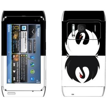 Виниловая наклейка «Черный и белый лебеди» на телефон Nokia N8