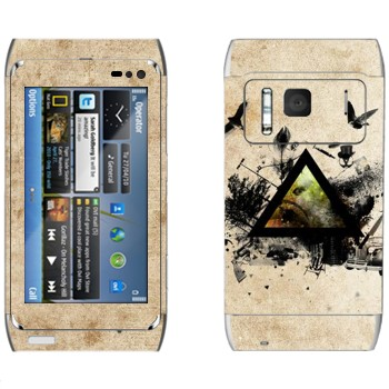 Виниловая наклейка «Черный треугольник и деревья с птицами» на телефон Nokia N8