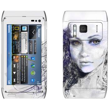 Виниловая наклейка «Девушка арт» на телефон Nokia N8