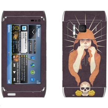 Виниловая наклейка «Девушка-смерть» на телефон Nokia N8