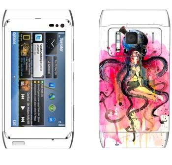 Виниловая наклейка «Девушка в объятьях осьминога» на телефон Nokia N8