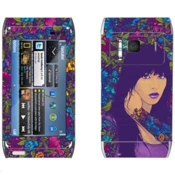 Виниловая наклейка «Девушка в цветах» на телефон Nokia N8