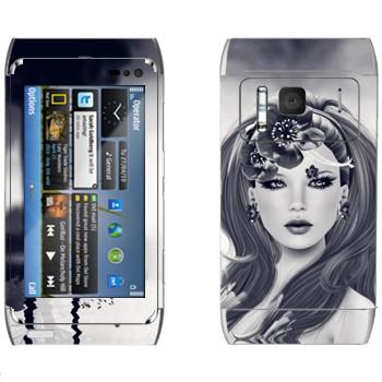 Виниловая наклейка «Девушка в воде» на телефон Nokia N8