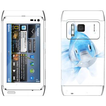 Виниловая наклейка «Голубая рыбка» на телефон Nokia N8
