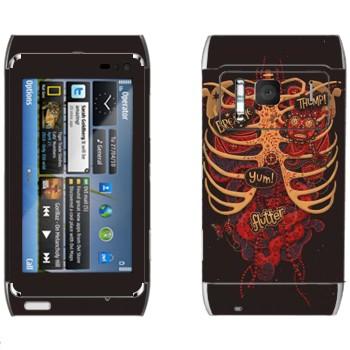 Виниловая наклейка «Грудь мертвеца» на телефон Nokia N8
