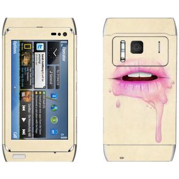 Виниловая наклейка «Губы малинового цвета» на телефон Nokia N8