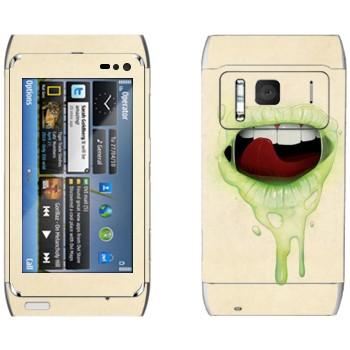 Виниловая наклейка «Губы цвета лайм» на телефон Nokia N8