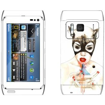 Виниловая наклейка «Женщина-кошка» на телефон Nokia N8
