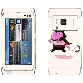 Виниловая наклейка «Кот-вампир» на телефон Nokia N8
