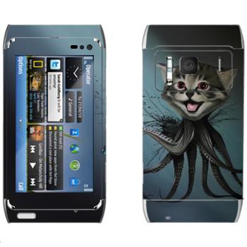 Виниловая наклейка «Котенок-осьминог - Robert Bowen» на телефон Nokia N8