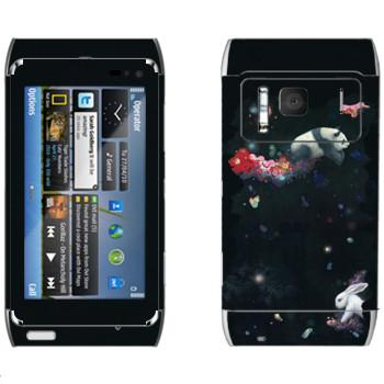 Виниловая наклейка «Кролик и панда - Kisung» на телефон Nokia N8