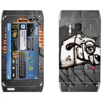 Виниловая наклейка «Квадратный пес» на телефон Nokia N8