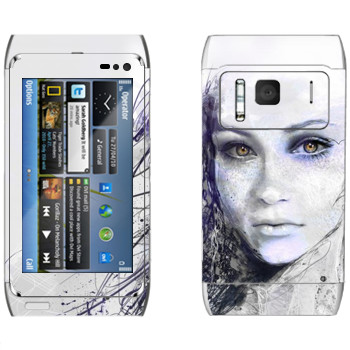Виниловая наклейка «Лицо девушки» на телефон Nokia N8
