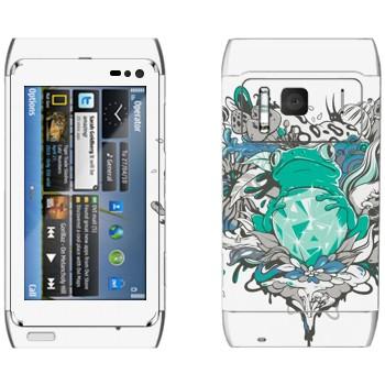 Виниловая наклейка «Лягушка и бриллиант» на телефон Nokia N8