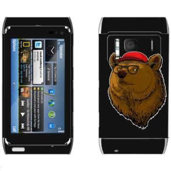 Виниловая наклейка «Медведь в кепке и очках» на телефон Nokia N8