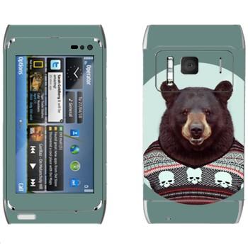 Виниловая наклейка «Медведь в свитере» на телефон Nokia N8