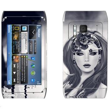 Виниловая наклейка «Нарисованная девушка с цветком» на телефон Nokia N8