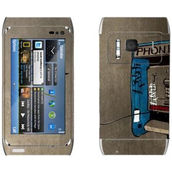 Виниловая наклейка «Нарисованный таксофон» на телефон Nokia N8
