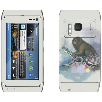 Виниловая наклейка «Обезьяна на ветке - Kisung» на телефон Nokia N8