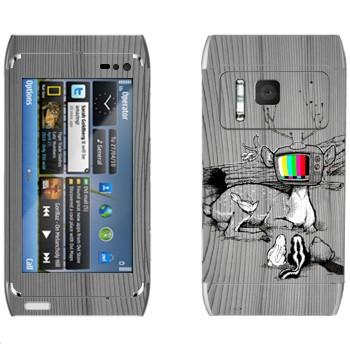 Виниловая наклейка «Олень-телевизор» на телефон Nokia N8