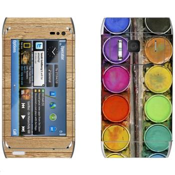Виниловая наклейка «Палитра с красками» на телефон Nokia N8