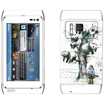 Виниловая наклейка «Панды на дереве» на телефон Nokia N8