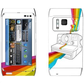 Виниловая наклейка «Полароид печатает радугу» на телефон Nokia N8