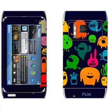 Виниловая наклейка «Разноцветные монстрики» на телефон Nokia N8