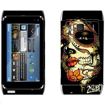 Виниловая наклейка «Разрисованное лицо девушки - Боди-арт» на телефон Nokia N8