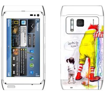 Виниловая наклейка «Рональд МакДональд блюёт» на телефон Nokia N8