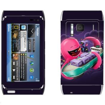 Виниловая наклейка «Розовый осьминог и танкер» на телефон Nokia N8
