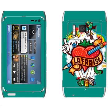 Виниловая наклейка «Сердце проткнутое карандашем» на телефон Nokia N8