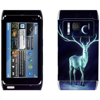 Виниловая наклейка «Северный олень» на телефон Nokia N8