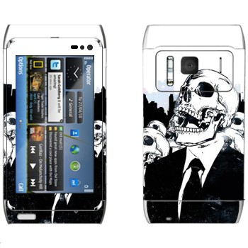 Виниловая наклейка «Скелеты в костюмах» на телефон Nokia N8