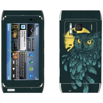Виниловая наклейка «Сова и Луна» на телефон Nokia N8