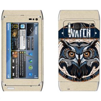 Виниловая наклейка «Сова наблюдает» на телефон Nokia N8