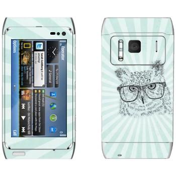 Виниловая наклейка «Сова в очках» на телефон Nokia N8