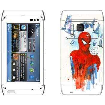 Виниловая наклейка «Спайдермэн и голуби» на телефон Nokia N8