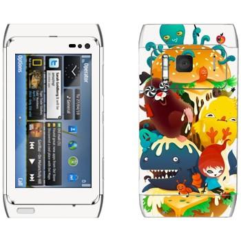 Виниловая наклейка «Странное зверье» на телефон Nokia N8