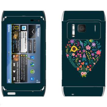 Виниловая наклейка «Цветочное сердце» на телефон Nokia N8
