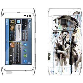 Виниловая наклейка «Уличный музыкант под дождем» на телефон Nokia N8