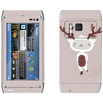 Виниловая наклейка «Веселый олененок на коньках» на телефон Nokia N8