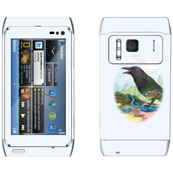 Виниловая наклейка «Ворона - Kisung» на телефон Nokia N8