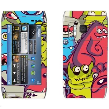 Виниловая наклейка «Забавные инопланетяне» на телефон Nokia N8