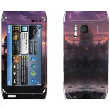 Виниловая наклейка «Закат в вымышленном городе» на телефон Nokia N8