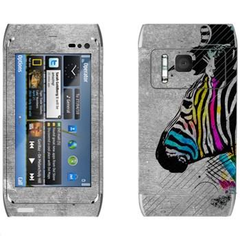 Виниловая наклейка «Зебра с разноцветными полосами» на телефон Nokia N8
