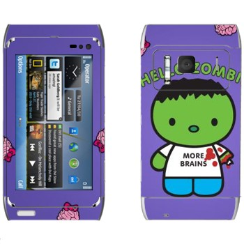 Виниловая наклейка «Зеленый зомби в майке» на телефон Nokia N8