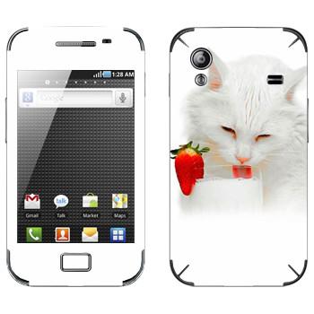 Виниловая наклейка «Белая кошка пьет молоко» на телефон Samsung Galaxy Ace