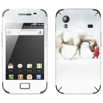 Виниловая наклейка «Белая лошадь и ребенок» на телефон Samsung Galaxy Ace