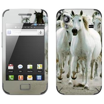 Виниловая наклейка «Белые лошади» на телефон Samsung Galaxy Ace